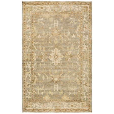 2' x 3' Blooming Lotus Camel Brown and Gray Fringed New Zealand Wool Area Throw Rug