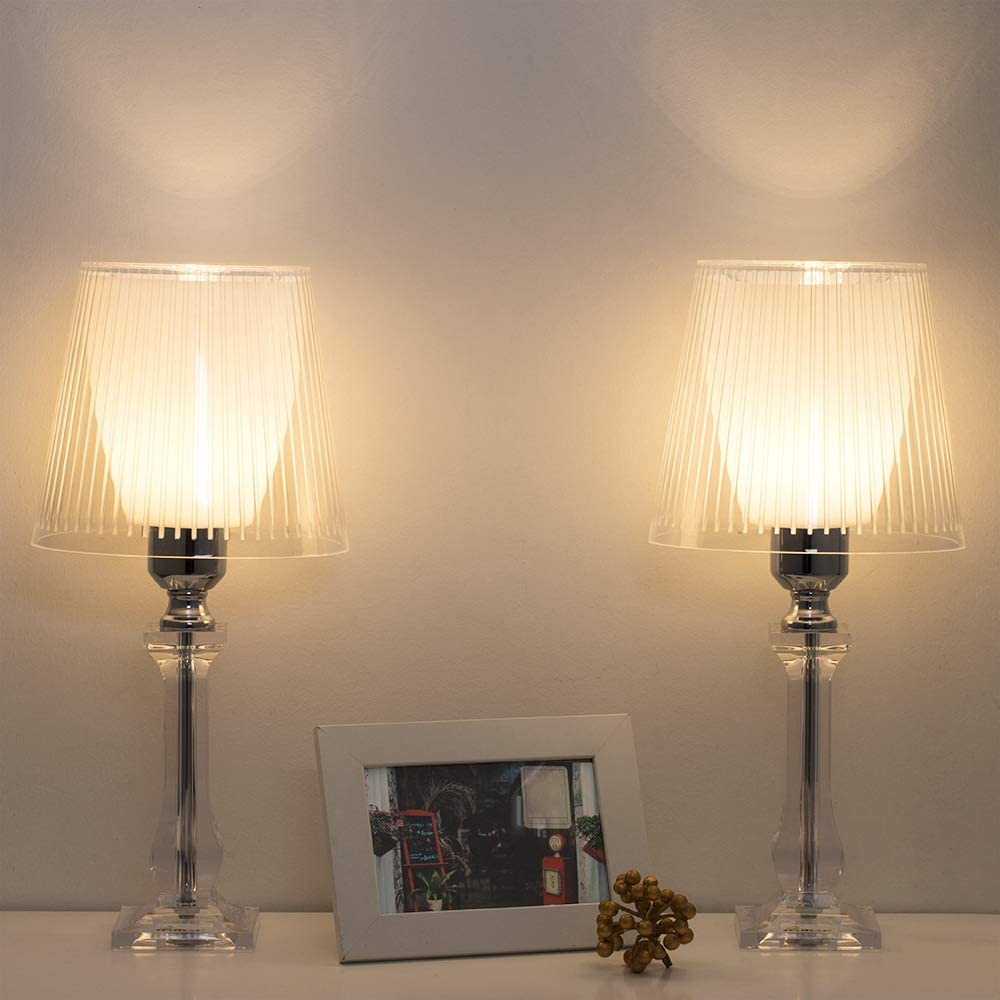 Clear Bedside Table Lamps Modern Nightstand Lamps Set of 2 ...