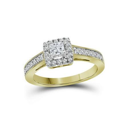 14k Princess Solitaire Diamond Band (Size 7 - 14k Yellow Gold Princess Cut Diamond Solitaire Bridal Wedding Band Engagement Ring (1/2)