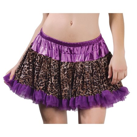 Sexy Adult Purple Leopard Layered Ruffle Petticoat Slip One Size Fits Most
