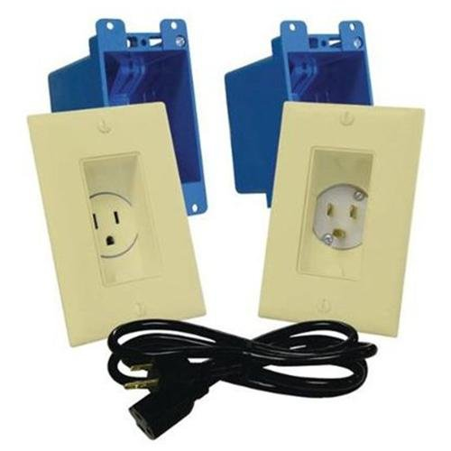 MIDLITE Single Gang Dcor In-Wall Power Solution Kit A46-I - Flush mount outlet - ivory