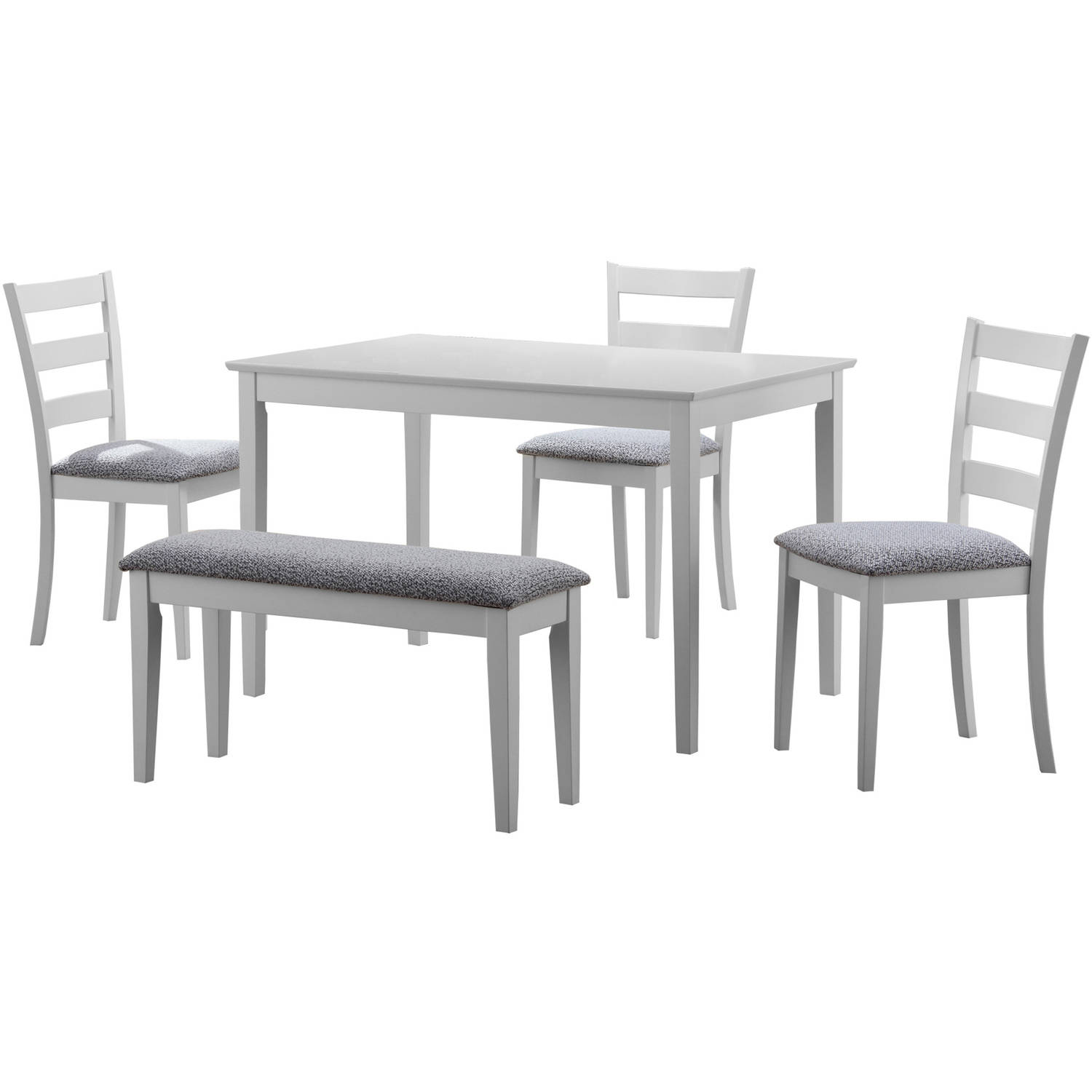 Delightful Monarch Dining Set 5Pcs Set / White Bench And 3 Side Chairs