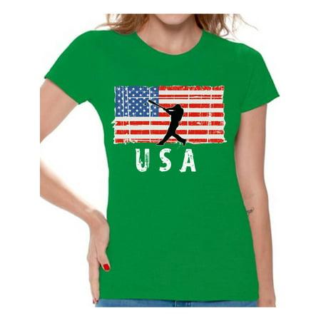 Awkward Styles Baseball USA Women Shirt USA Patriotic Gifts USA Sport T shirt for Women Gifts for Women American Flag Women Tshirt I'm American Pro America T-shirt for Women 4th July
