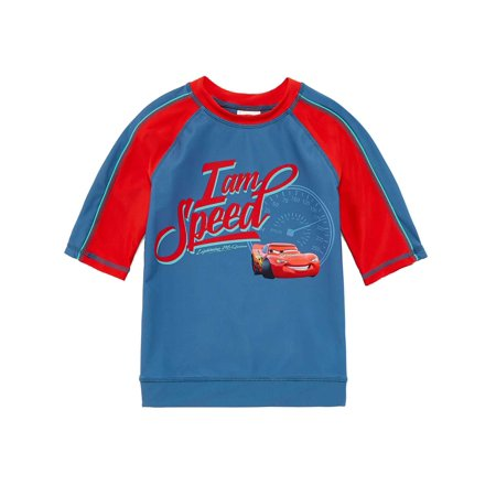Disney Cars Toddler & Boys Blue Lightning McQueen Rash Guard Swim Shirt