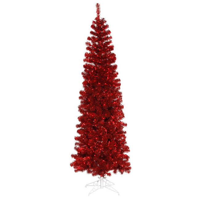 5.5' Pre-Lit Red Hot Tinsel Pencil Artificial Christmas Tree - Red Lights