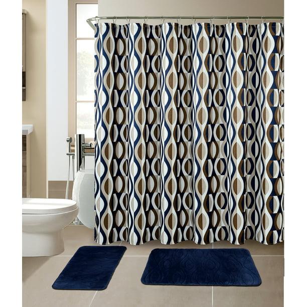 All American Collection New 15 Piece Bathroom Mat Set Memory Foam With Matching Shower Curtain Walmart Com Walmart Com
