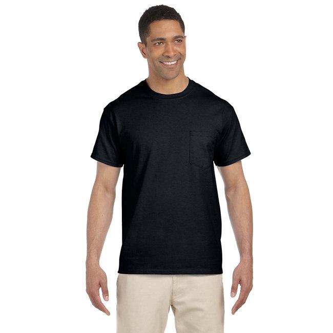 Gildan  Men's Black Ultra Cotton Pocket Undershirts (Set ...