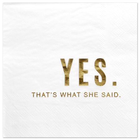 Koyal Wholesale Yes Thats What She Said, Funny Quotes Cocktail Napkins, Gold Foil, Bulk 50 Pack Count 3 Ply Napkins - Buy In Bulk Wholesale