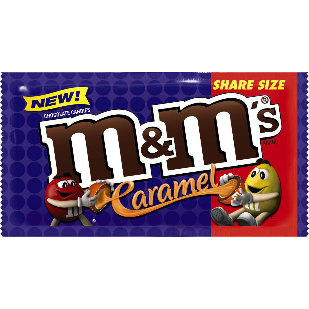M&M'S Caramel Chocolate Candy Pouch, Share Size, 2.83 Oz