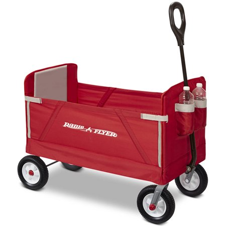 Radio Flyer, 3-in-1 Off-Road EZ Fold Wagon, Rubber Wheels, Red (Oak Wagon Wheel)