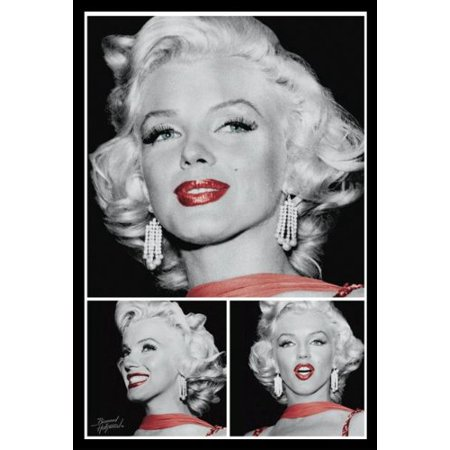 Buyartforless If Pa Pas0512 36X24 1 25 Black Plexi Framed New Marilyn Monroe   Red Lip 36X24 Art Print Poster Hollywood Icon Legend Graphic Image