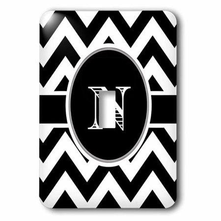 3dRose Black and white chevron monogram initial N, Single Toggle Switch