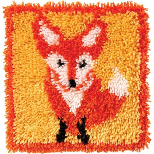 """Wonderart Latch Hook Kit, 12"""" x 12"""", Little Fox"""