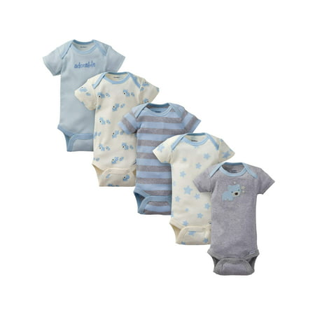 Gerber Organic Cotton Short Sleeve Onesies Bodysuits, 5pk (Baby Boys) Cotton Short Sleeve Onesie