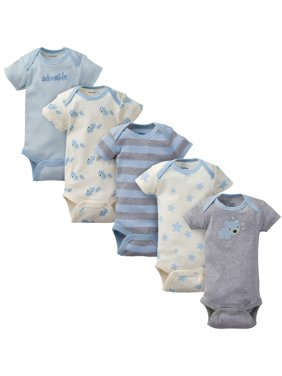 89744ebb Product Image Organic Cotton Short Sleeve Onesies Bodysuits, 5 Pack (Baby  Boy)