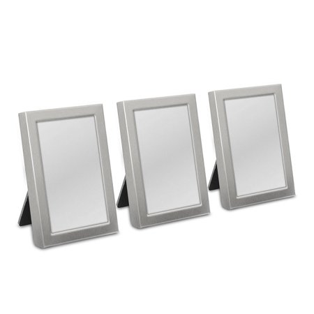 Easel Back Mini Photo Frames Brushed Silver Set of 3 Wedding (Smartknit Seamless Silver Mini)