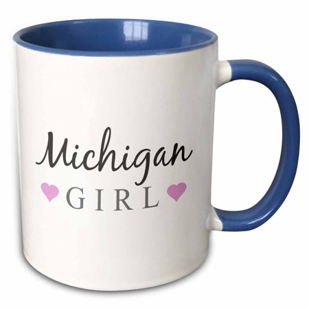 3dRose Michigan Girl - home state pride - USA - United States of America - text and cute girly pink hearts - Two Tone Blue Mug, 11-ounce