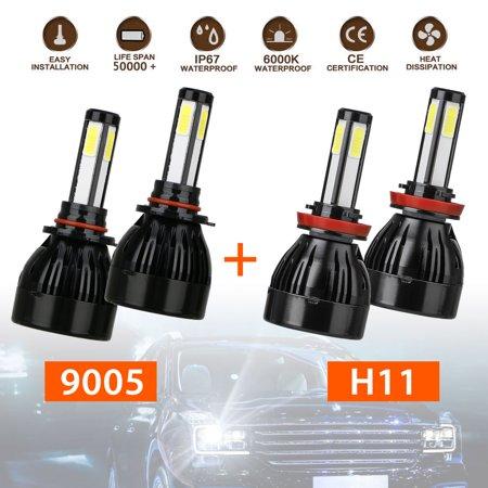 9005 H11 Combo Led Headlight Kit, TSV 2 Sets 9005 HB3 H11/H8/H9 CREE LED Headlight Kit Waterproof 6000K Cool White 16000Lumens COB Chips Fog Light High & Low Beam Light Bulbs Combo Light Set
