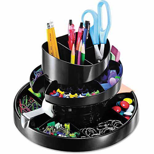 Officemate Recycled Rotary Organizer, 16 compartments, 10 1/4 x 6 3/4, Black