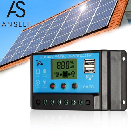 Anself 20A 12. LCD Solar Charge Controller PWM Charging Regulator for Solar Panel Lithium Battery Lamp Overload Protection