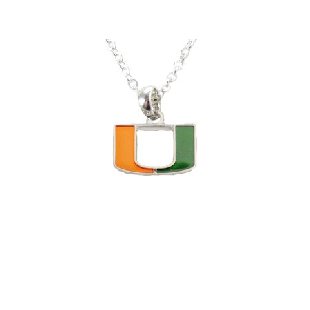 Miami Hurricanes Iridescent Orange Green Charm Necklace Jewelry Um