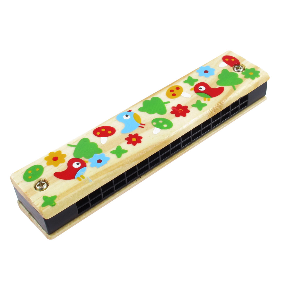 Unique Bargains Children Portable Wooden Birds Harmonica Mouth Organ w Dual Rows 32 Holes