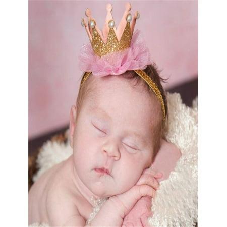 Girl Head Accessories Hairband Baby Elastic Flower Crown Headwear Gold