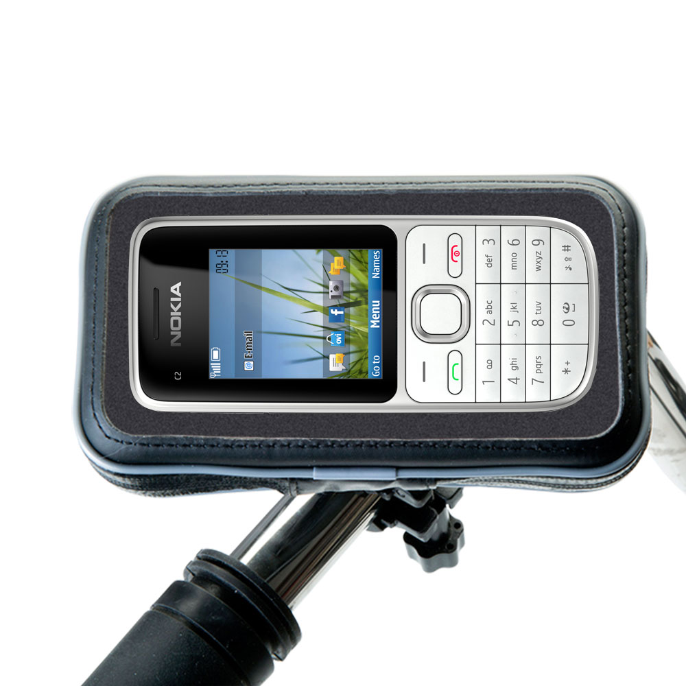 Heavy Duty Weather Resistant Bicycle / Motorcycle Handlebar Mount Holder Designed for the Nokia C2-01