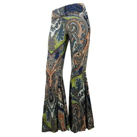 Sugar Rock Women Paisley Palazzo Hippie Pants Fold-Over Waist Bell Bottom Leg in Green](Womens Bell Bottoms)