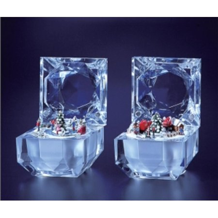 Pack of 4 Icy Crystal Decorative Christmas Music Boxes 2.8