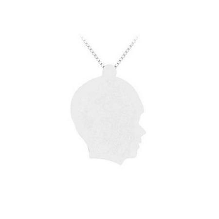 14K White Gold Boy Head Stamping Pendant - image 1 of 2