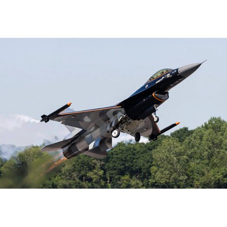 A Royal Netherlands Air Force F-16AM takes off at RAF Fairford England Poster Print by Rob EdgcumbeStocktrek Images