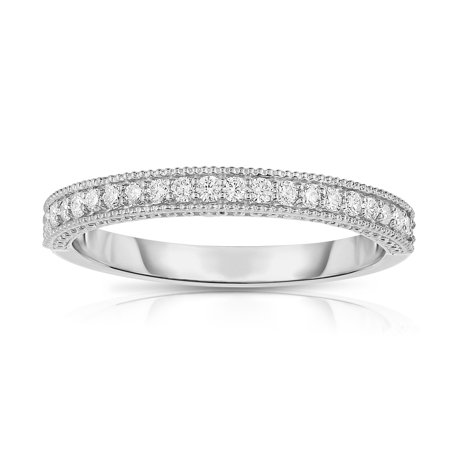 14K White Gold Diamond (0.22 Ct, G-H Color, SI2 Clarity) Wedding Band With Miligrain Setting