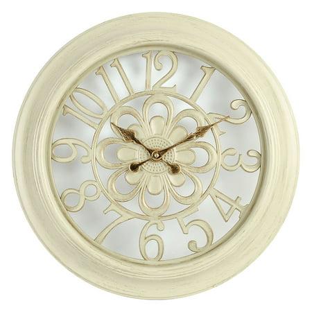 Empire Clock - Empire 18 inch Decorative Wall Clock, Antique White