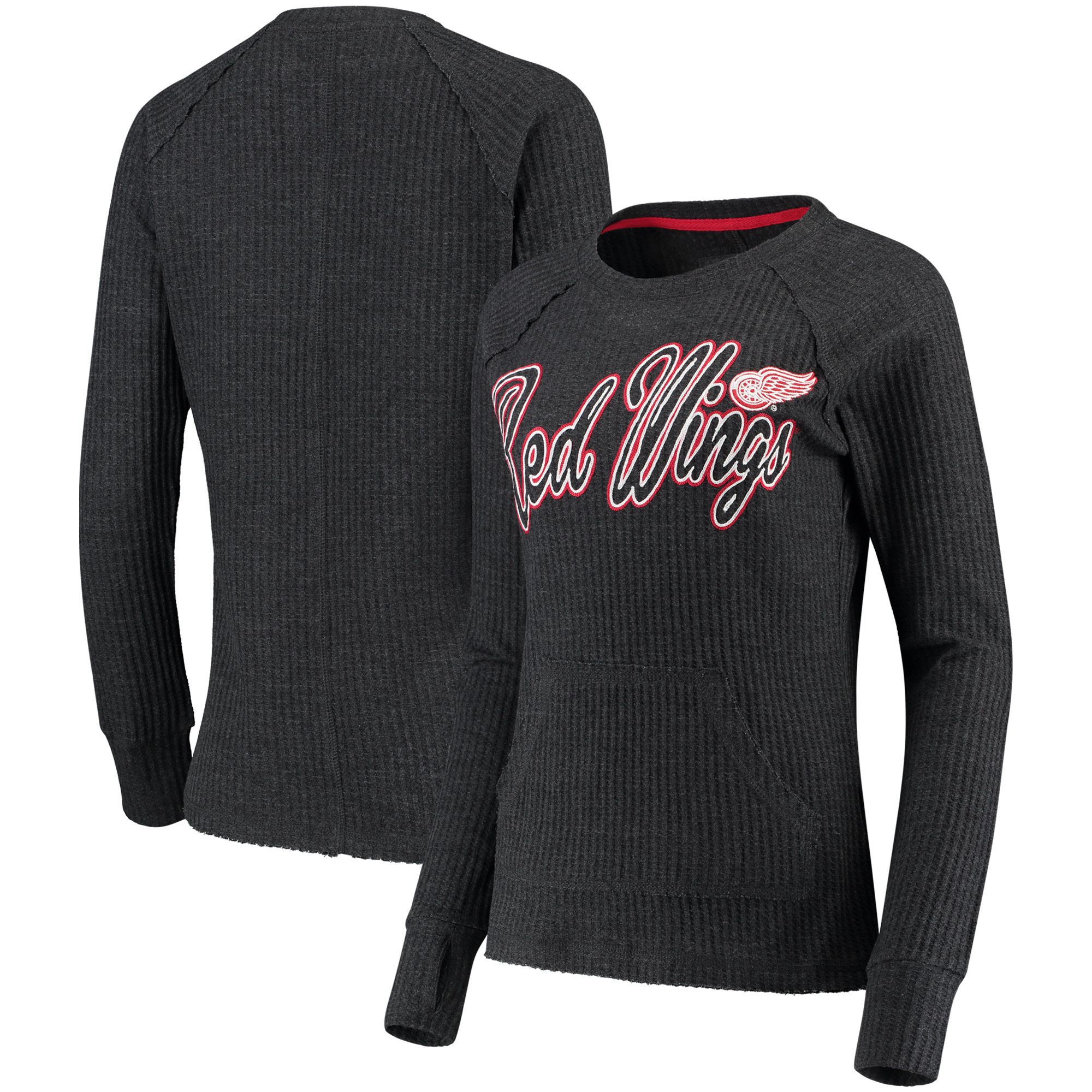 Detroit Red Wings G-III 4Her by Carl Banks Women's Off Season Pullover Crew Neck Sweatshirt - Charcoal