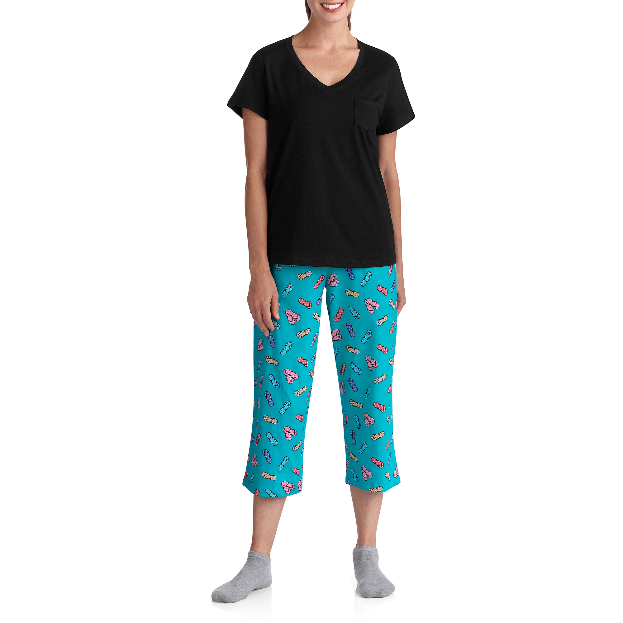 White Stag Women's V Neck Sleep Shirt and Pant PJ Set with Pocket