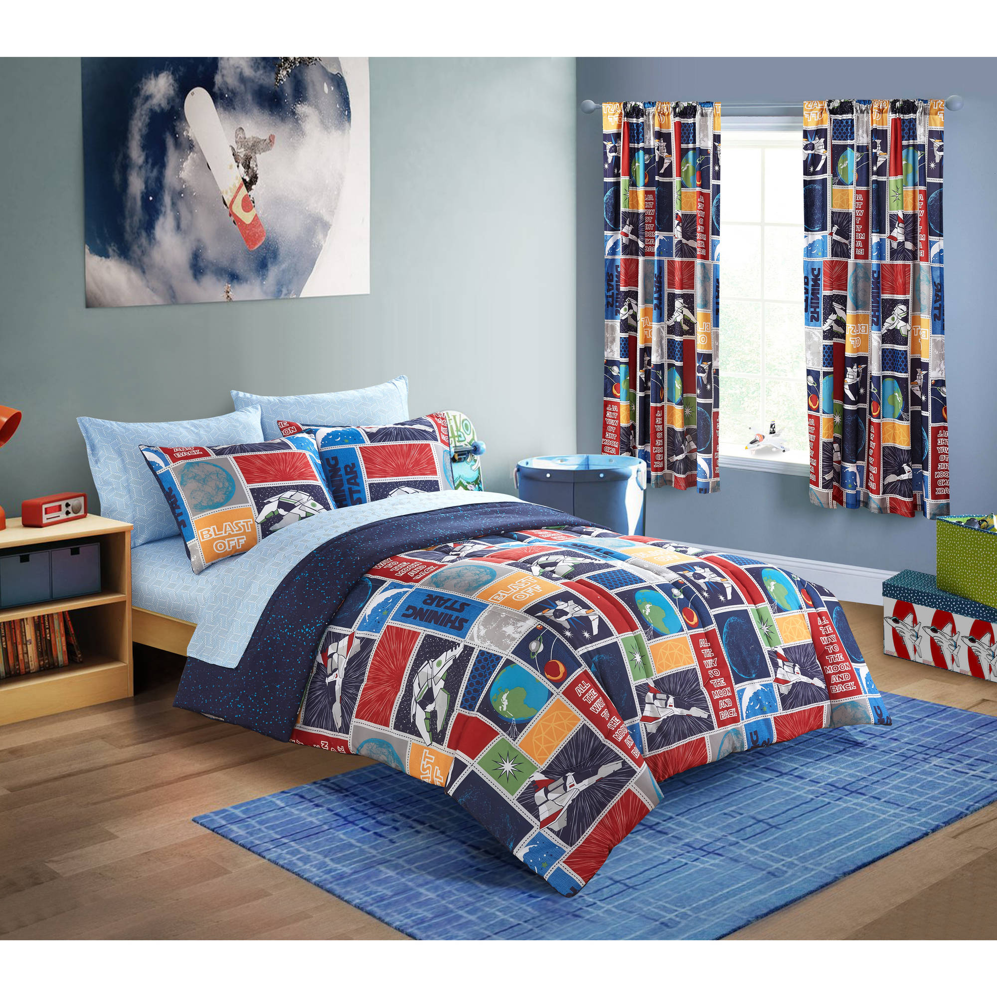 Mainstays Kids Outerspace Stars Bed-In-A-Bag Bedding Set