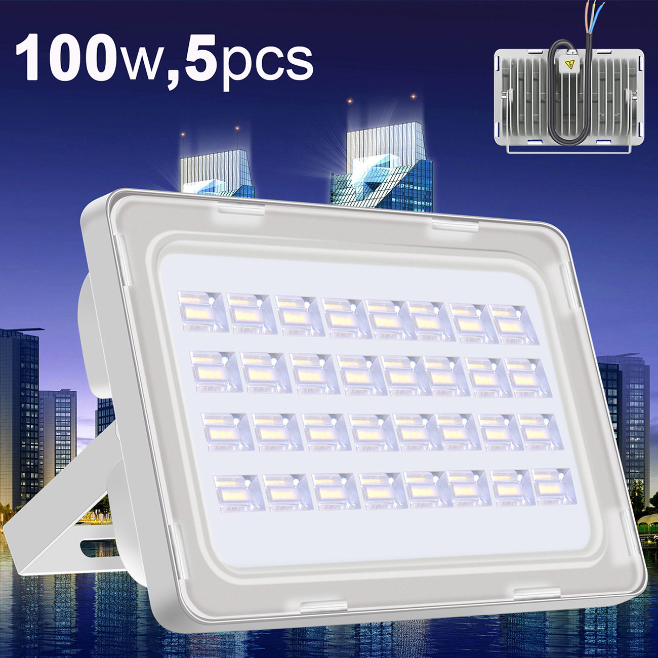 5X Viugreum 100W LED Floodlight Outdoor Landscape Lamp Cool White Waterproof