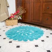 "Chesapeake Bursting Flower 2pc White & Aqua Round Bath Rug Set (24"" & 30"")"