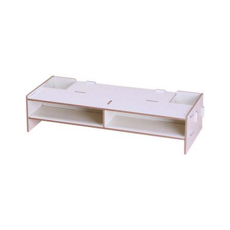 Wooden Monitor Stand Riser Computer Desk Organizer with Storage Slots for Office Supplies School Teachers - image 2 of 5