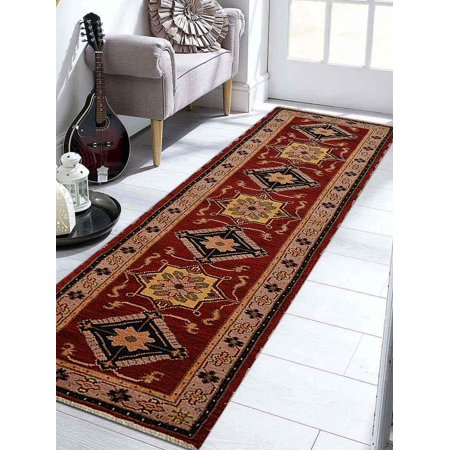 Rugsotic Carpets Hand Knotted Afghan Wool And Silk 2'6''x10' Oriental Runner Area Rug Kazak Red Beige - Oriental Silk Lanterns