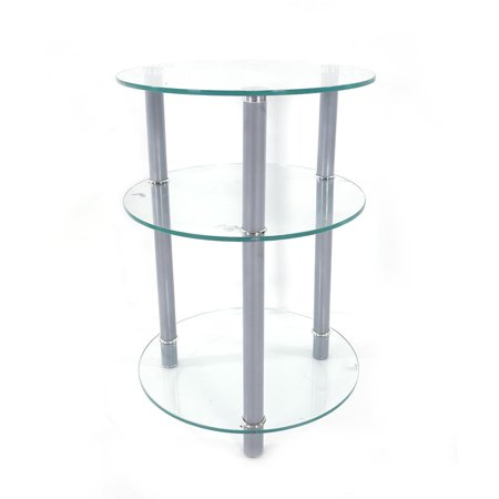 Ktaxon 3 Tiers Round Clear Glass Side Table Sofa Living Room Corner Stand Oragnizer ()