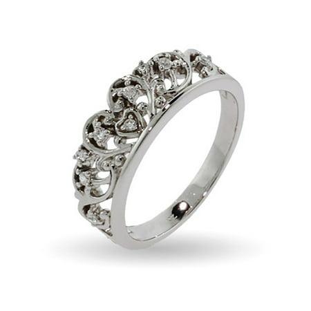 Royalty Inspired Tiara Sterling Silver Cz Ring
