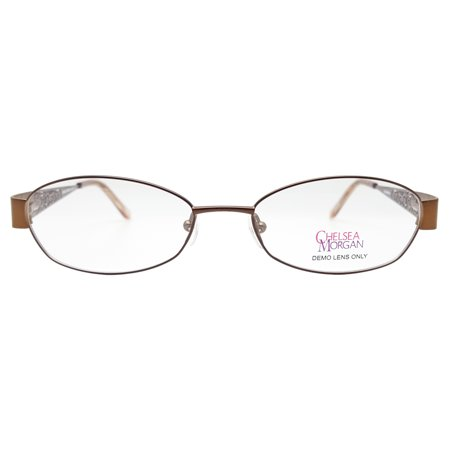 Chelsea Morgan Women's CM 803 Eyeglasses Prescription Frames (Brown, 52-17-135) - Eyeglasses Brown Metallic Frame