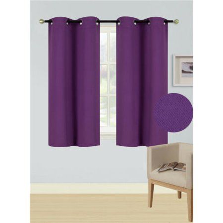 (K54) Purple 1 Panel Silver Grommets Kitchen Tier Window Curtain 3 Layered Thermal Heavy Thick Insulated Blackout Drape Treatment Size 30