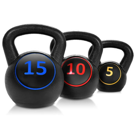 Gymax 3PC Vinyl Kettlebell Kit Body Muscles Training Weights