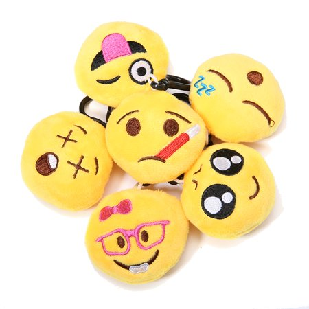 34-Pack Emoji Keychain, Emoji Toys Party Favors Mini and Cute Plush Pillows, Emoji Party Supplies for Kids Christmas Decoration Birthday Classroom Rewards 9cm x 6.4cm