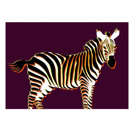 Zebra in Purple Horizontal Print Wall Art By Ikuko - Purple Zebra Print
