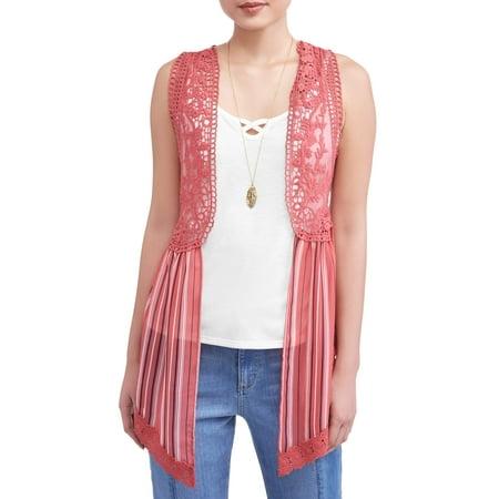 No Boundaries Juniors' Crochet Lace, Tank & Necklace 3Fer