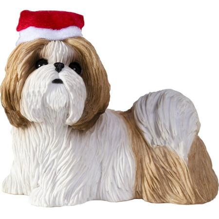Sandicast Standing Gold & White Shih Tzu with Santa's Hat Christmas Dog Ornament